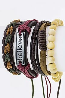 BELIEVE Tag Mix Leather Bracelets Set