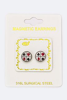 4 Suits Magnetic Earrings