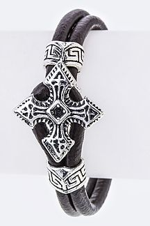 Cross Toggle Leather Bracelet
