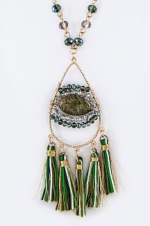 Wired Beads & Tasseled Teardrop Pendant Necklace