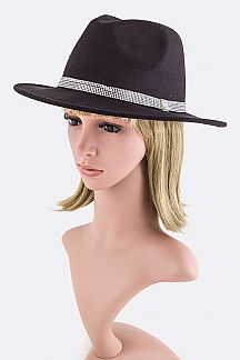Crystal Band Fashion Felt Hat