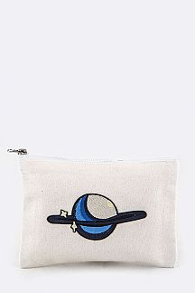 Planet Embroidery Canvas Pouch