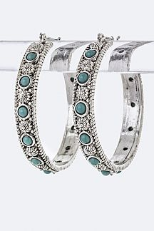 Stone Ornate Hoop Earrings