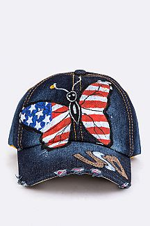 US Butterfly Print Denim Cap