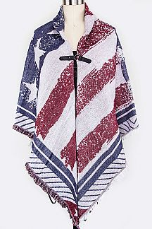 Grunged US Flag Print Open Poncho