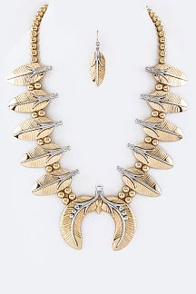 Iconic Metal Feathers Statement Necklace Set