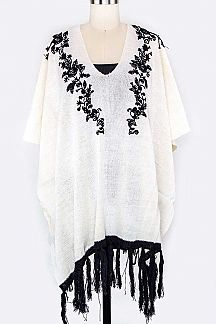 Flower Lace Accent Poncho