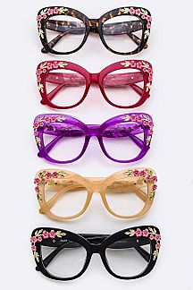 Flower Accent Butterfly Optical Glasses