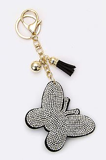 Crystal Butterfly Key Charm
