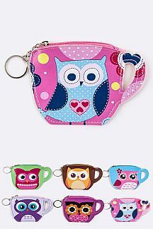 Comic Owl Tea Cup Coin Purses Set