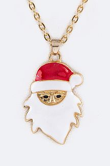 Enamel Santa Pendant Necklace Set