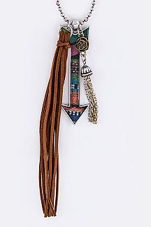 Tribal Print Arrow & Mix Charms Necklace