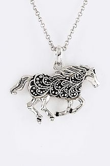 Swirly Textured Horse Pendant Necklace Set