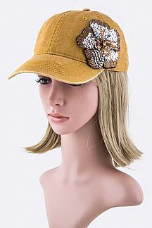 Sequins Flower Fashion Cap