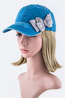 Satin Bow Washed Cotton Fashion Cap