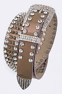 Crystal & Spiky Studs Rocker Belt