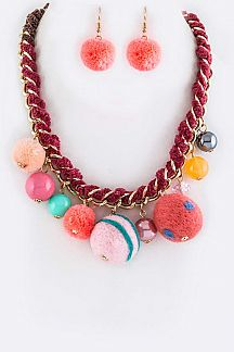 Mix Beads & PomPom Statement Necklace Set