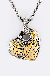2 Tone Leaf Textured Heart Pendant Necklace