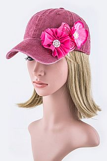 Crystal Satin Flower Washed Cotton Cap
