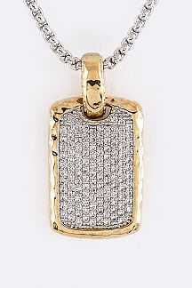 Pave CZ Tag Pendant Necklace
