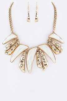 Resin & Metal Swashes Statement Necklace Set