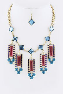 Fringed Crystal Bars Statement Necklace Set