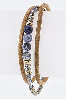 Mix Beads & Leather Layer Bracelet