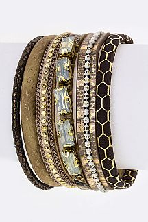 Crystal & Mix Prints Layer Cuff