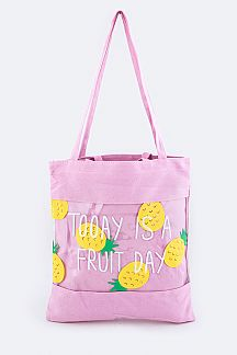 Pineapple Print Clear Canvas Tote