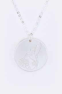 Humming Bird & Flower Charm Necklace