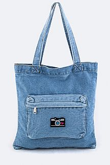 Camera Patched Denim Tote