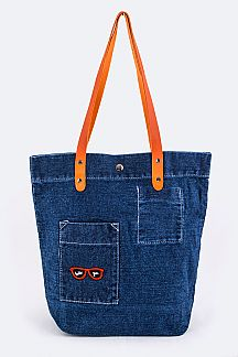 Hello You Sunglasses Pocket Denim Tote