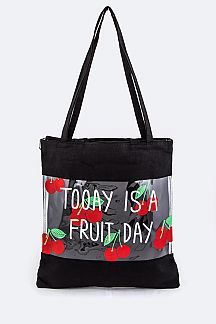 Strawberry Print Clear Canvas Tote