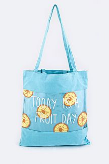 Orange Print Cleared Canvas Tote
