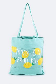 Lemon Print Cleared Canvas Tote