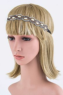 Sequins & Pearl Wavy Headband