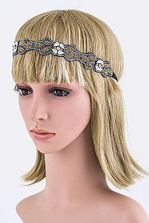 Crystal & Bead Flower Headband