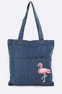 Flamingo Patch Denim Tote
