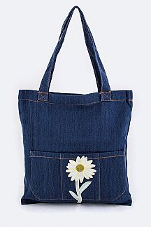 Daisy Patch Denim Tote