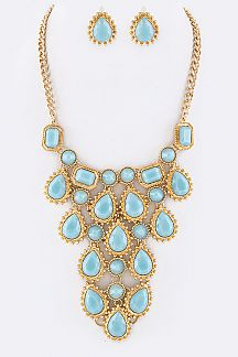Resin Stones Statement Necklace Set