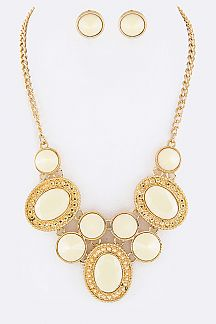 Mix Stones Statement Necklace Set
