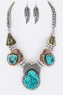 Squash Blossom Charms Necklace Set