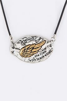 2 Tone Embossed Wing Tag Pendant Necklace