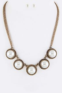 Pave Pearl Disks Statement Necklace Set