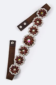 Crystal & Beads Flower Stretch Belt