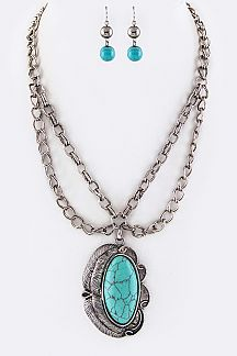 Turquoise Squash Blossom Pendant Necklace Set