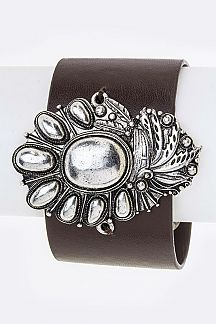 Metal Squash Blossom Charm Leather Cuff