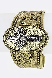 Cross & Embossed Metal Cuff