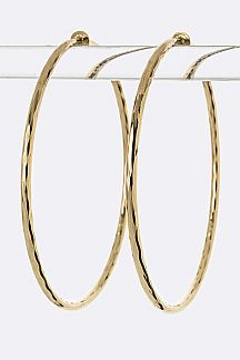 Diamond Cut Textured Hoop Earrings