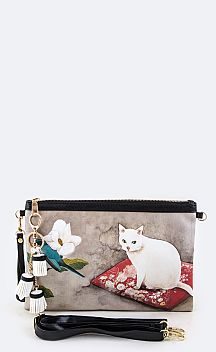 Watercolor Cat & Flower Convertible Tasseled Clutch